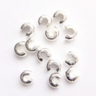100 Silver Plated 5mm Crimp Cover Beads